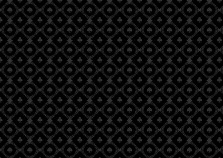 黒のカジノの火かき棒の背景または暗いダマスク パターンとカードのシンボル  イラスト・ベクター素材