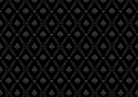 Black seamless casino gambling poker background or damask pattern and cards symbols Vector Illustration