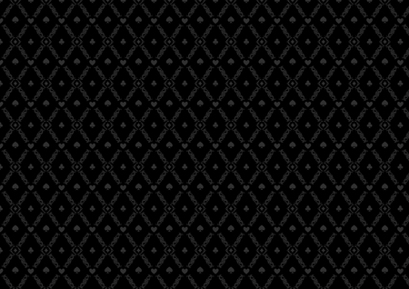 Black seamless casino gambling poker background or damask pattern and cards symbols