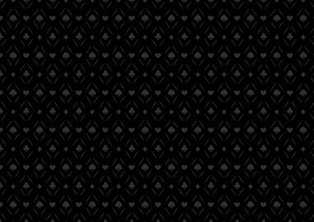 Fondo del casino de juego de póquer en negro sin fisuras o patrón y tarjetas de símbolos oscuros Ilustración de vector