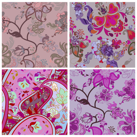 flor: Set of Violet Decorative creative floral boho seamless pattern with flowers. Vector illustration. Illustration