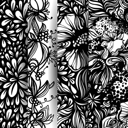 endlos: Set Fantasie abstrakten floralen Mustern. Zentangle Muster. Vektor-Illustration.
