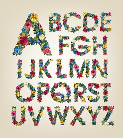 Fleurs de printemps. Été fleurs lettres. alphabet fleur. Colorful police. Lettres capitales. Banque d'images - 56212493
