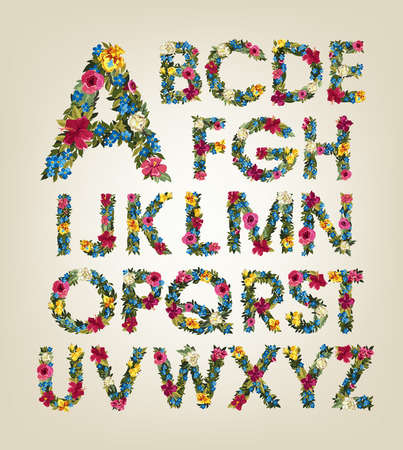 Spring flowers. Summer flowers letters. Flower alphabet. Colorful font. Uppercase Letters.
