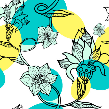 flor: Decorative creative floral  seamless pattern with flowers. Vector illustration. Illustration