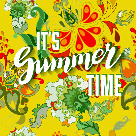 flower layout: It is summer time yellow lettering background. Vector illustration. Summer on seamless floral pattern. Illustration