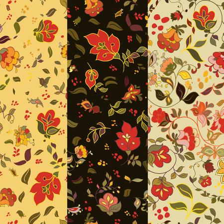 flor: Set of floralseamless patterns. Folk boho style background with flowers. Vector illustration. Illustration