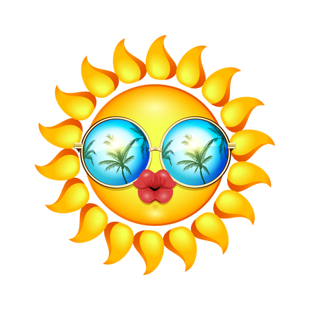 full lips: Summer Sun Face with sunglasses and full lips. Vector Illustration.
