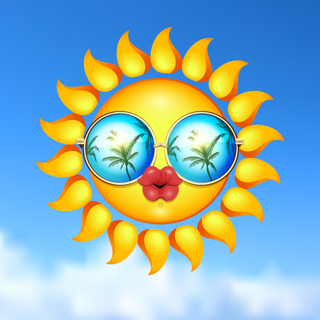 kissing lips: It Is Summer time kissing illustration. Sun Face with sunglasses and full lips on blue sky background. Vector Illustration. Lady sun. Illustration