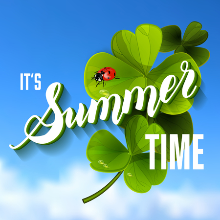 green it: It is Summer Time Lettering Background With green Clover. Vector Illustration.