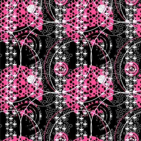 wallpaper doodle: Retro pop 80s seamless vector pattern. Vector illustration of hand drawn doodle artistic seamless background. Abstract wallpaper. Illustration