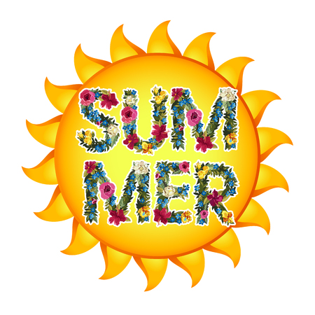 floral letters: Summer Illustration. Vector shiny sun With floral letters. Summer lettering vector background illustration. Isolated on white.
