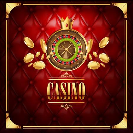 Vector casino gokken spel luxe achtergrond met leder rode textuur achtergrond en roulette wiel met gouden munten vliegen naar kijker. Casino gokken sjabloon poster. Casino vector illustratie.