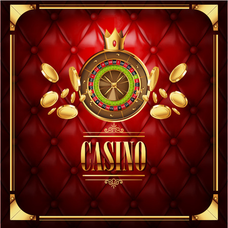 Vector casino gambling game luxury background with leather red texture backdrop and roulette wheel with golden coins flying to viewer. Casino gambling template poster. Casino vector illustration. Illustration