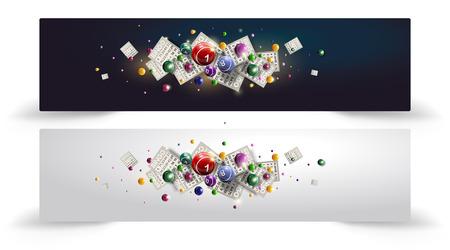 Vector a ilustração de voar bolas do Bingo ou da loteria e cartões. Banner do site ou cabeça. Projeto de bingo ou loteria com espaço de cópia para o texto. Projeto de bingo em duas cores diferentes.