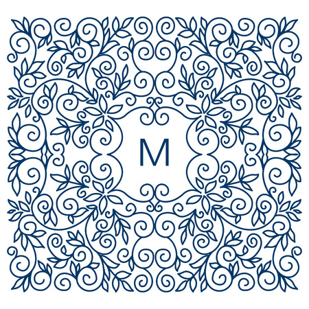 mono: Floral vector frame with copy space for text in trendy mono line style. Monogram design element Illustration