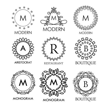 graceful: Set of luxury, simple and elegant blue monogram design templates. Good for labels and logos. Vector illustration. Line style. Big set of monograms. Monogram design. Vector monogram. Isolated on white.
