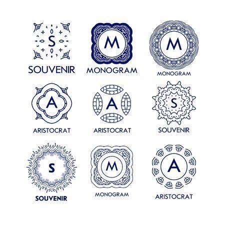 gold floral: Set of luxury, simple and elegant blue monogram design templates. Good for labels and logos. Vector illustration. Line style. Big set of monograms. Monogram design. Vector monogram. Isolated on white.
