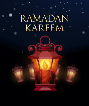 ligh: Ramadan Kareem greeting background with ligh lantern. Vector Illustration. Illustration