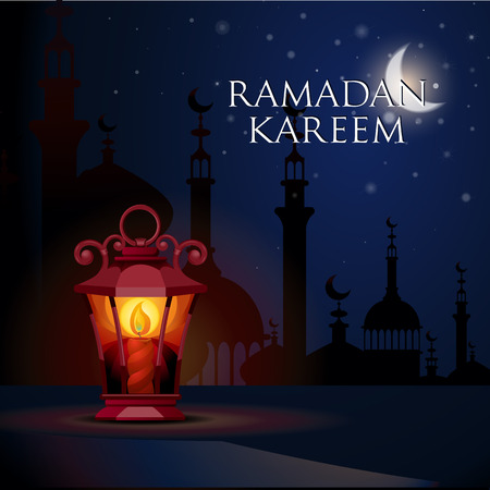 ligh: Ramadan Kareem greeting card with ligh lantern. Illustration  of muslim holy month with mosque building. Vector Illustration. Illustration