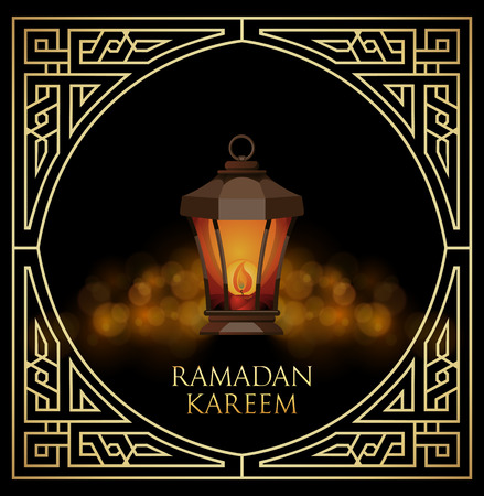ligh: Ramadan Kareem greeting cardwith ligh lantern on bokeh background. Vector Illustration. Illustration