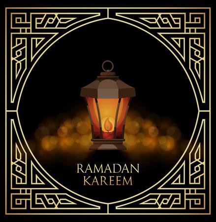 ligh: Ramadan Kareem greeting cardwith ligh lantern on bokeh background. Vector Illustration. Illustration