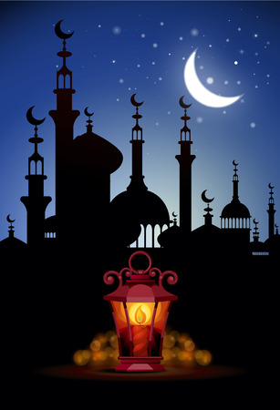 ligh: Ramadan Kareem greeting background with ligh lantern.  Illustration  of muslim holy month with mosque building. Vector Illustration.