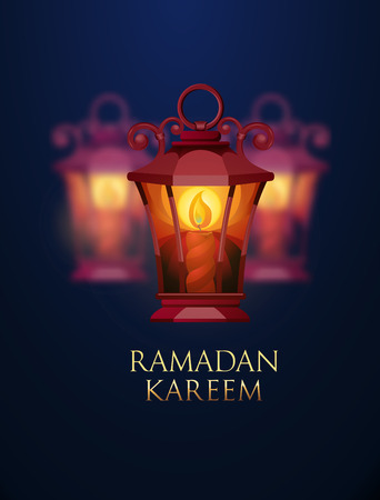 ligh: Ramadan Kareem greeting background with ligh lantern. Vector Illustration. Illustration