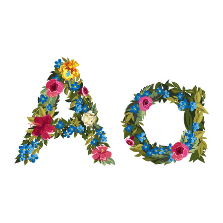 grotesque: A letter. Flower capital alphabet. Colorful font. Uppercase and lowercase. Vector illustration. Grotesque style. Floral alphabet. Illustration
