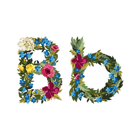 b day gift: B letter. Flower capital alphabet. Colorful font. Uppercase and lowercase. Vector illustration. Grotesque style. Floral alphabet.