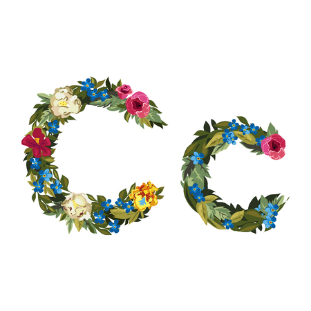grotesque: C letter. Flower capital alphabet. Colorful font. Uppercase and lowercase. Vector illustration. Grotesque style. Floral alphabet.