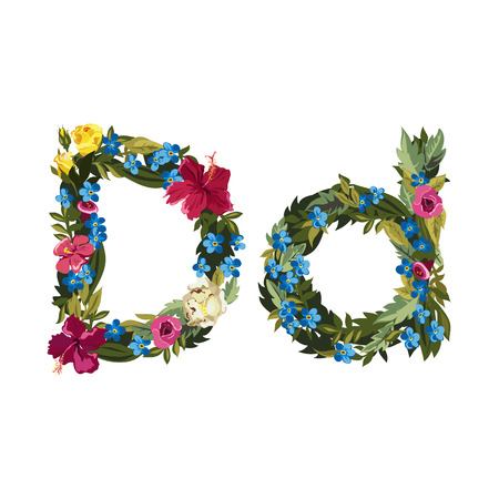 grotesque: D letter. Flower capital alphabet. Colorful font. Uppercase and lowercase. Vector illustration. Grotesque style. Floral alphabet.