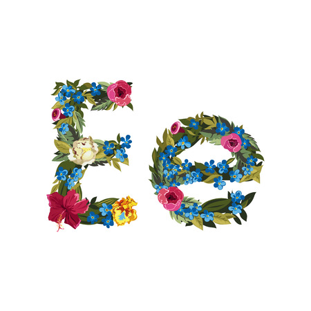 uppercase: E letter. Flower capital alphabet. Colorful font. Uppercase and lowercase. Vector illustration. Grotesque style. Floral alphabet.