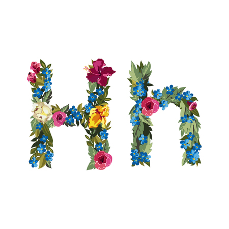 uppercase: H letter. Flower capital alphabet. Colorful font. Uppercase and lowercase. Vector illustration. Grotesque style. Floral alphabet.