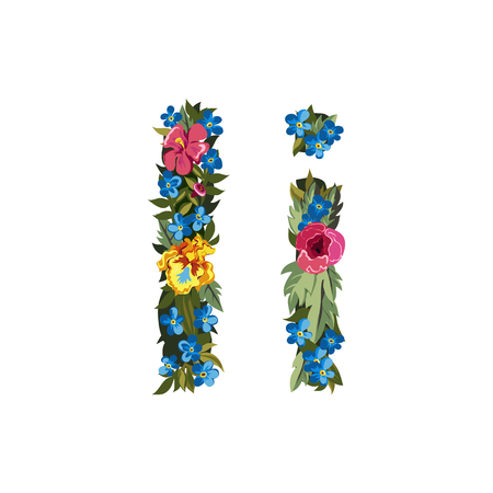 grotesque: I letter. Flower capital alphabet. Colorful font. Uppercase and lowercase. Vector illustration. Grotesque style. Floral alphabet. Illustration