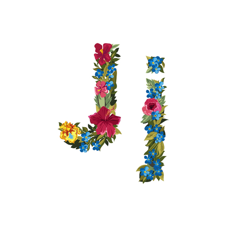 floral alphabet: J letter. Flower capital alphabet. Colorful font. Uppercase and lowercase. Vector illustration. Grotesque style. Floral alphabet. Illustration