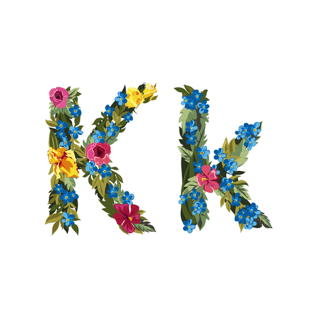floral alphabet: K letter. Flower capital alphabet. Colorful font. Uppercase and lowercase. Vector illustration. Grotesque style. Floral alphabet. Illustration