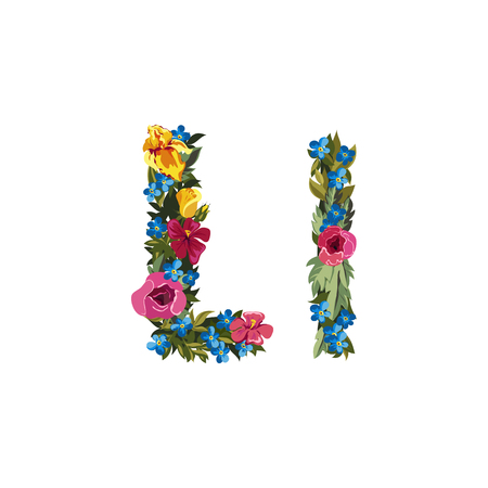grotesque: L letter. Flower capital alphabet. Colorful font. Uppercase and lowercase. Vector illustration. Grotesque style. Floral alphabet.