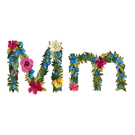 floral alphabet: M letter. Flower capital alphabet. Colorful font. Uppercase and lowercase. Vector illustration. Grotesque style. Floral alphabet.