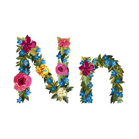 grotesque: N letter. Flower capital alphabet. Colorful font. Uppercase and lowercase. Vector illustration. Grotesque style. Floral alphabet.