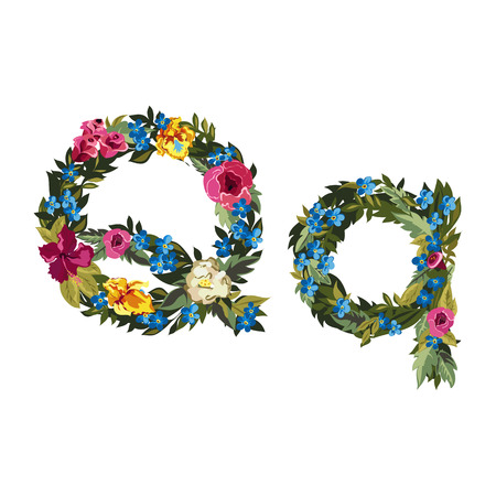 grotesque: Q letter. Flower capital alphabet. Colorful font. Uppercase and lowercase. Vector illustration. Grotesque style. Floral alphabet.