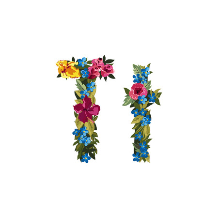 grotesque: T letter. Flower capital alphabet. Colorful font. Uppercase and lowercase. Vector illustration. Grotesque style. Floral alphabet.