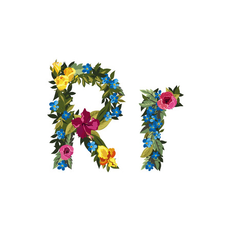 floral alphabet: R letter. Flower capital alphabet. Colorful font. Uppercase and lowercase. Vector illustration. Grotesque style. Floral alphabet.