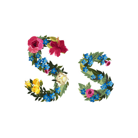 S letter. Flower capital alphabet. Colorful font. Uppercase and lowercase. Vector illustration. Grotesque style. Floral alphabet. Illustration