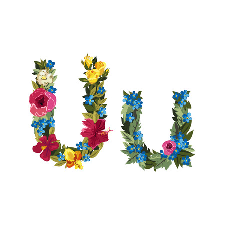uppercase: U letter. Flower capital alphabet. Colorful font. Uppercase and lowercase. Vector illustration. Grotesque style. Floral alphabet.