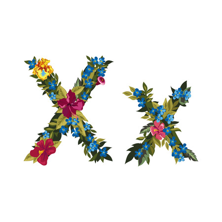 uppercase: X letter. Flower capital alphabet. Colorful font. Uppercase and lowercase. Vector illustration. Grotesque style. Floral alphabet. Illustration
