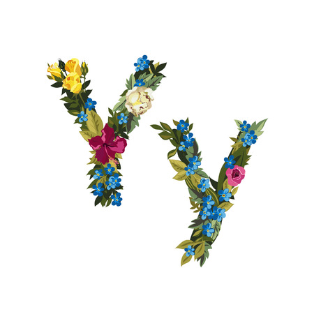 uppercase: Y letter. Flower capital alphabet. Colorful font. Uppercase and lowercase. Vector illustration. Grotesque style. Floral alphabet.