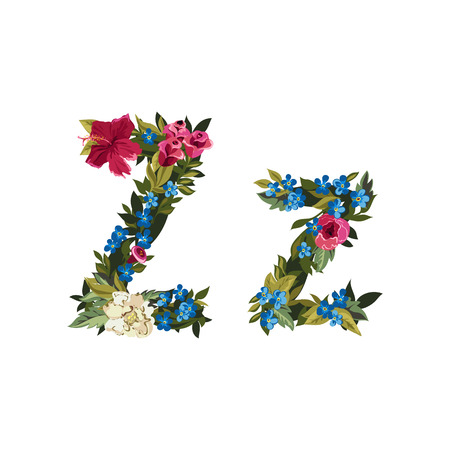grotesque: Z letter. Flower capital alphabet. Colorful font. Uppercase and lowercase. Vector illustration. Grotesque style. Floral alphabet.