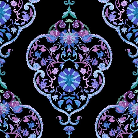persian art: Watercolor Paisley Seamless Background. Cold Colors. Indian, Persian or Turkish Art. Vector Handdrawn Pattern. Decorative ornament for fabric, textile, wrapping paper, card, invitation, wallpaper. Illustration