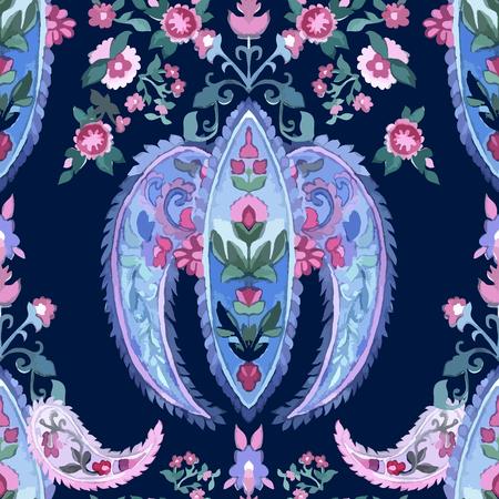 motif floral: Contexte Aquarelle Paisley Seamless. Couleurs froides. Art indien, persan ou turc. Motif Vector Handdrawn. ornement décoratif pour le tissu, le textile, le papier d'emballage, carte, invitation, papier peint. Illustration